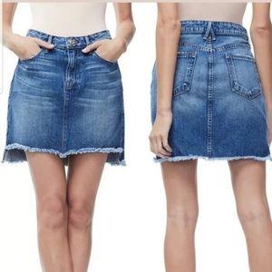Good American Denim Frayed Mini Skirt SZ 16 EUC